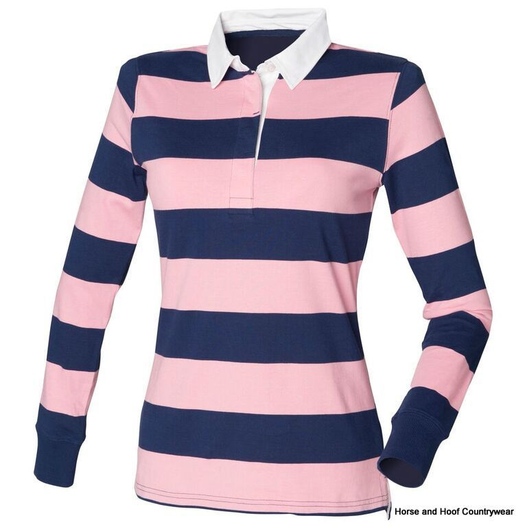 Front row co women s striped rugby shirt for Pink and purple striped rugby shirt