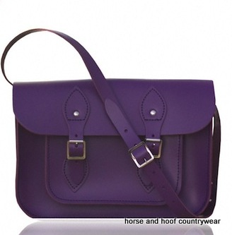 11 Inch Traditional Hand Crafted British Vintage Leather Satchel - Deep Purple