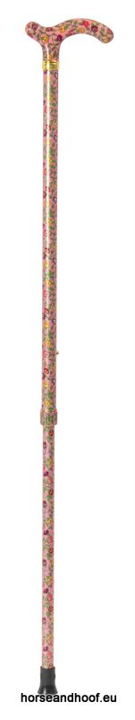 Classic Canes Chelsea Height-Adjustable Aluminium Cane - Peachy-Pink Floral