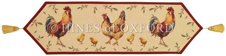 Country Hens   Fine Tapestry Table Runner