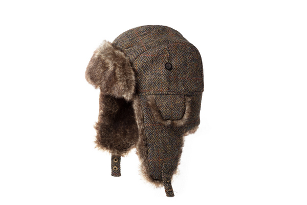 b1dbd3d6eb9 Failsworth Harris Tweed Wool Fur Trapper Hat - Brown