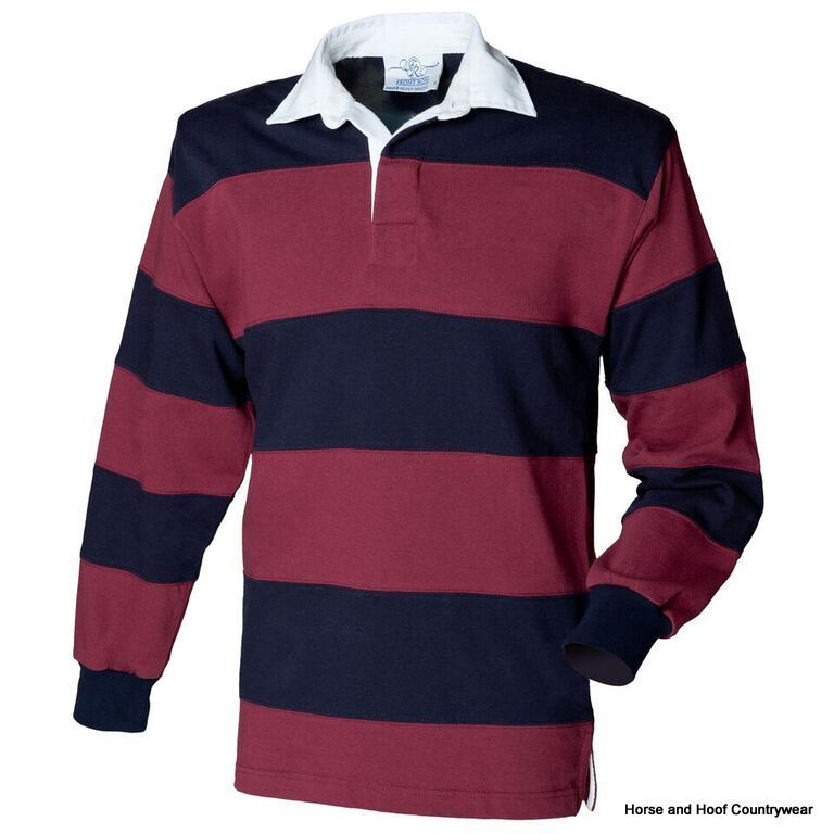 Front row co sewn stripe long sleeve rugby shirt for Long sleeve striped rugby shirt